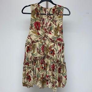 GUC Free People floral Boho Dress w/birds.Sz small